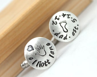 Inspirational, Sterling silver cufflinks, first time dad cufflinks, personalized cuff links, mens personalized cufflinks