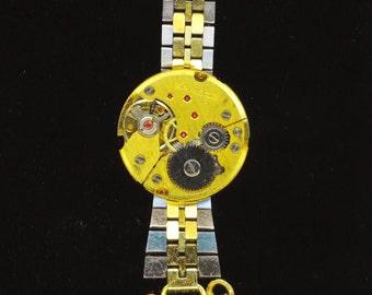 Steampunk Vintage Gold Pendant . Sandoz Watch Steampunk . Gold Vintage Watch Necklace . Bold Rubies - Fun Jewelry by enchantedbeas on Etsy