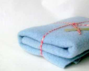 Wool blanket 15x24' felt craft recycled light blue