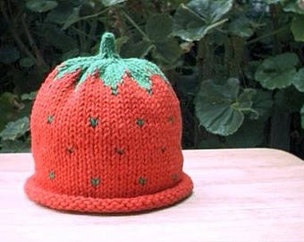 Hand knitted Strawberry hat