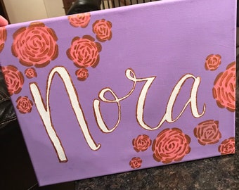 Personalized, Brush lettered Name Canvas for Girl's Room