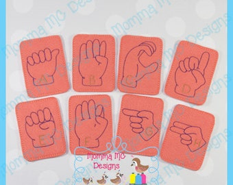 ASL American Sign Language ABC Cards Machine Embroidery Design