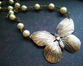 Antiqued Butterfly and Upcycled Pearl Bridal Necklace, dress up dress down any occasion