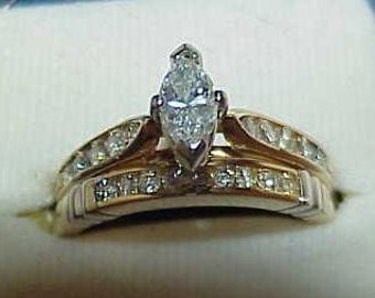 14K .75Ct Marquise Diamond Solitaire 2 Ring Wedding Set YG Sz 6