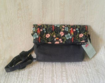 Foldover Crossbody Tote Bag, Waxed Canvas, Canadian Made, 1867Shop, Handmade, Bucket Bag, Menagerie, Rifle Paper Company, Flowers, Parrot