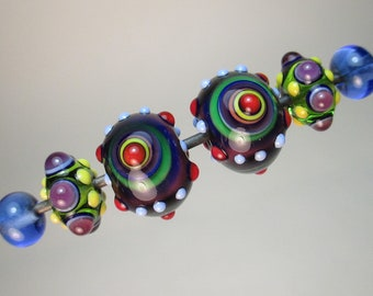MATCHED PAIRS: BULLSEYE Focals + Fancy Minnies and Transparent Blue Plains Handmade Lampwork Beads by Patti Cahill (6 beads total)
