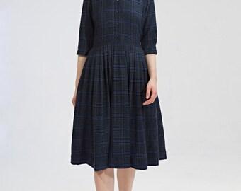 Winter dress Shirt dress Blue dress Midi dress Plaid dress Womens dresses Ladies dress Collar dress Navy dress 1950 dress size S M L XL
