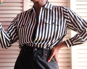 Vintage Black/White Striped Blouse