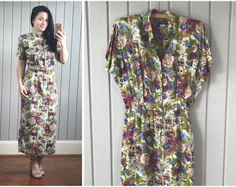 1980s does 1940s Wiggle Dress | 1980s Dress | 1980s Clothing | Floral Summer Work Dress | 80s Party Dress | Vintage Clothing