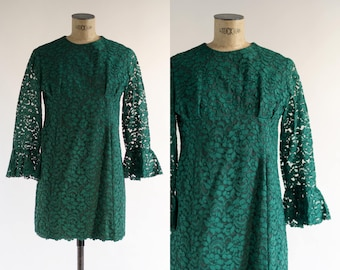 60s Dress - Bell Sleeve Dress - Emerald Green Dress - Lace Mini Dress - Midori Sour Dress