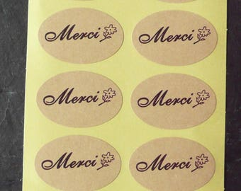 Set of 80 labels stickers oval thanks kraft 3, 5 x 2, 3 cm