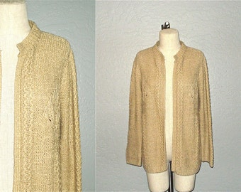 Vintage 70s boho sweater COZY TAN BOUCLE knit cardigan with leaf design - M