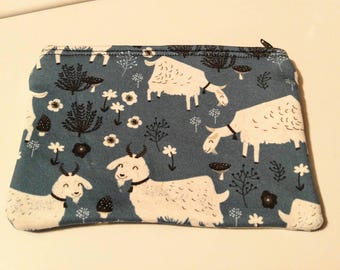 FREE SHIPPING - Handmade Happy Goats! zippered coin pouch/purse