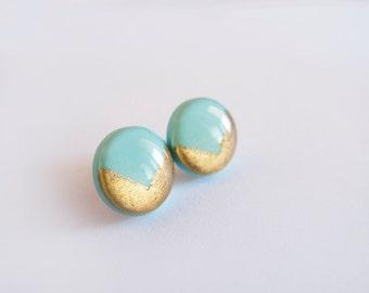 Mint Gold Stud Earrings - Hipoallergenic Surgical Steel Posts