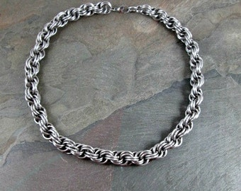 Chainmaille Necklace - Stainless Steel - Chainmail Necklace - Double Spiral - Steel Chain - Chainmaille Jewelry - Mens Necklace