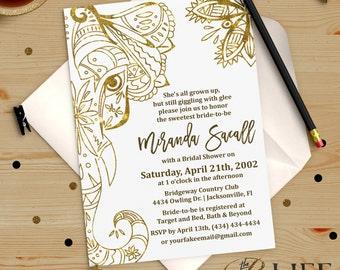 Gold Boho Elephant Bridal Shower Invitation Printable DIY No. I275