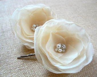 Cream wedding bridal flower hair clips, bridal hair piece, bridal hair accessories, bridal floral headpiece, wedding hair accessory