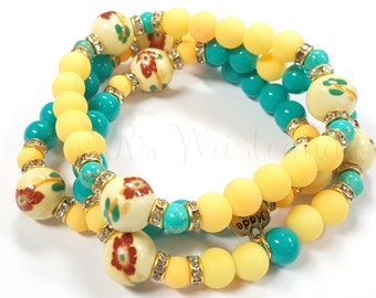 Floral Beaded Bracelet Set, Bracelet Trio, Handmade, Custom, Women's Bracelet, stretch bracelet, Beaded Jewelry, Women's Jewelry