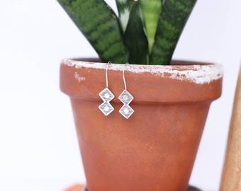 Sterling Silver Stamped Dangle Earrings // Made to Order