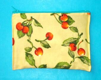 LAST ONE! Sweet Cherries Rockabilly Soft Flannel Printed Zippered Clutch Purse