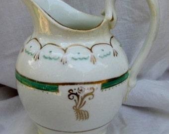 Vintage Cream Pitcher, Regency style,  Gold detail, Farmhouse Decor, Alternative Vase