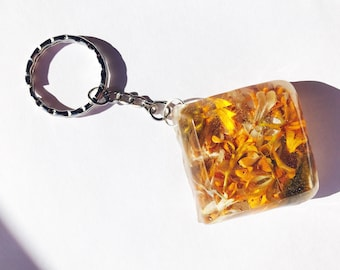 Sale Mixed Flower Petals Orange Keyring
