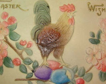 Nice Highly Embossed Vintage Easter Postcard (Rooster with Colored Eggs)
