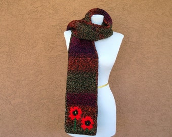 Poppy Scarf for Women - Red Poppies Scarf - Multicolor Black, Red, Orange, Purple Scarf - Crochet, Crocheted Scarves for Women for Autumn