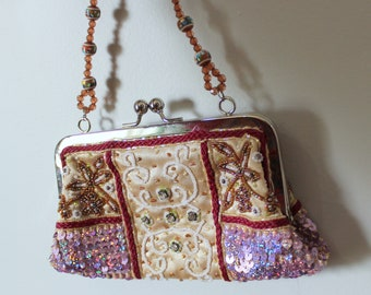 Beaded Handbag // Vintage 1980's Beaded, Rhinestone, and Sequins Gold Satin Handbag with Maroon Braided Trim & Beaded Strap Glam Dressy