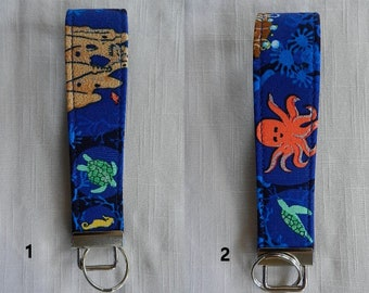 Water Creatures on Blue fabric key fob, key chain, wristlet, camera strap,flash drive holder