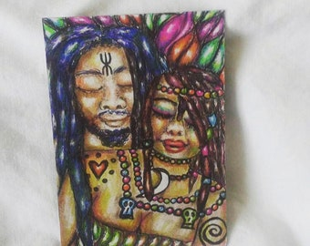 Psychedelic African Shaman And Shamaness ATC Colored Pencil And Pen