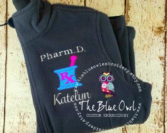Pharmacy Mortar & Pestle Custom Monogrammed Full-Zip Fleece Jacket