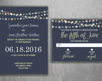 Wedding Invitation, Affordable  Wedding Invitations, RSVP, Rustic, Vintage, Lights Wedding Invitation, Night Sky, Blue and Yellow, Summer