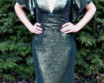 Custom made vintage inspired 'Claudia' full sequin mermaid gown with capelet shoulder sleeves for weddings, prom and black tie