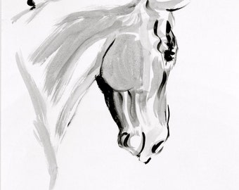 Beautiful horse art equine art horse gift horse lover gift art LE print 'Propriety' from an original mixed media wall art home decor