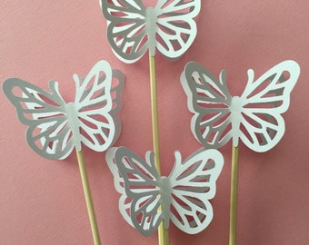 """24 Pieces 8"""" Skewer White Butterfly Cupcake Toppers, Birthdays, Party Decor, Weddings, Showers"""