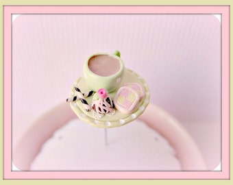 Cup of Tea Battenberg Cake Truffle and Pirolines Pin Topper
