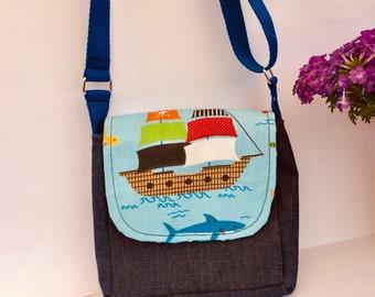 Small shoulder bag carrying case for children blue ship Maritim