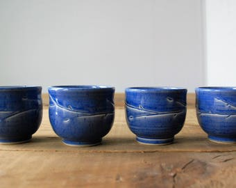 set of 4 blue tea bowls, ceramic tea bowls, pottery tea bowls, handmade tea set, tea cups, wheel thrown, porcelain cups, gift for tea lovers