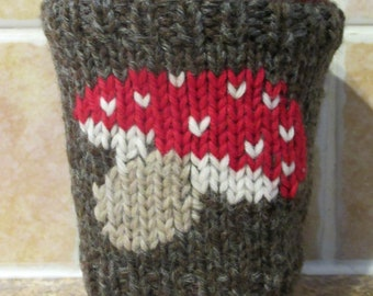 TOADSTOOL Cup Cozy, Knitted Wool Coffee Cozy, Handknit Cup Cover
