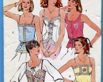 Butterick 6143 Tops Camisole Corset Vintage Sewing Pattern Misses Size 12  Bust 34 UNCUT Summer Blouse