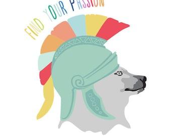 Nursery word art print - Find Your Passion - Spartan Bear art print, Nursery Art, modern art for baby room, kids art, inspirational art
