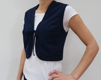 Vintage Short Dark Blue Vest With Lining Women Cropped Vest Tied In Front