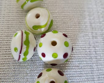 Hollow Lampwork glass bead set. 5pc Hollow bead,