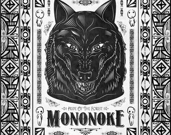 Miyazaki's Princess Mononoke Wolf Line Art - signed museum quality giclée fine art print