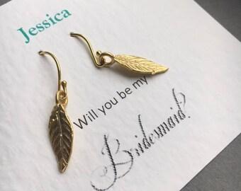 Gold Leaf Earrings, Bridesmaid Earrings, Leaf Earrings, Bridesmaid Gift, Birthday Gift, UK Seller