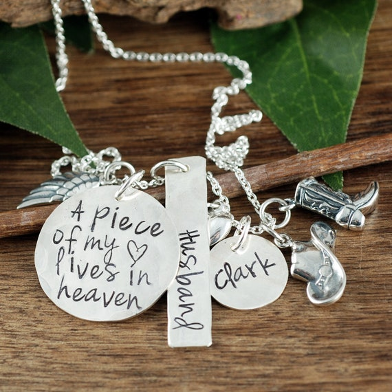 Memorial Cowboy Necklace, A piece of my heart lives in heaven, Personalized Necklace, Remembrance Necklace, Loss of Husband, In Memory Of