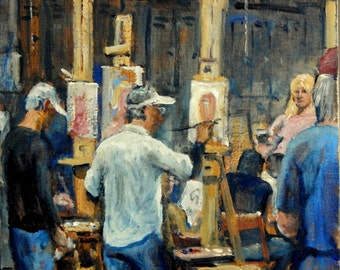 Original Oil Painting, At Work, Art Students League of New York. 10x10 Oil on Panel, Studio Interior, Signed American Realist Fine Art
