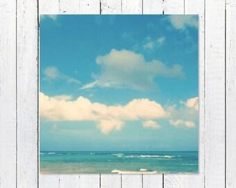 Large Ocean Art   Ocean Photography   Beach Photography   Turquoise + White Coastal Decor Prints   Loquillo Puerto Rico Wall Decor Art Print