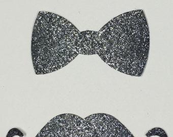 Bow Tie Mustache Silver Black Glitter Die Cut Embellishment - Men Masculine Formal New Years Holiday Wedding Greeting Card Scrapbook Craft